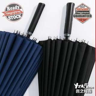 🚚 24 Ribs 190T High Density Big Golf Business Super Gentleman Umbrella Leather Handle Huge 1~3 pax Black Blue Green Red FREE COVER BAG CASE SPF 50+