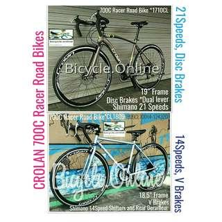 700C Racer Road Bikes from $239! ☆ Shimano Multi Speeds ✩ Brand New Bicycles *CROLAN, 2 models available