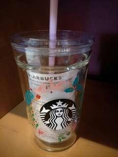 🆕STARBUCKS COLD CUP 11.3OZ DW GLASS WREATH