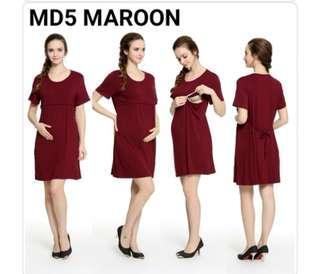 Maternity Dress in maroon