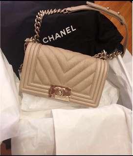Chanel Boy Small Chevron Gold