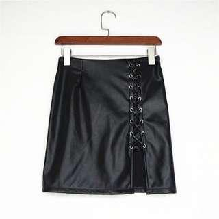 Lace Up Leather High Waist
