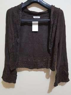 NEW Simple Top Outer Jacket Sweater Atasan Baju Wanita Lengan Panjang Broen Coklat