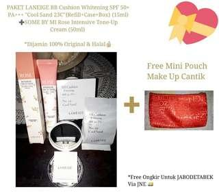 """PAKET LANEIGE BB Cushion Whitening SPF 50+ PA+++ """"Cool Sand 23C"""" {Only Refill+Case+Box} (15ml) & SOME BY MI Rose Intensive Tone-Up Cream (50ml)"""