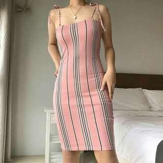 Self Tie Dress Pink Stripes