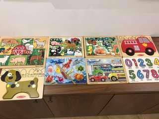 Set of 8 Melissa and Doug wooden puzzles