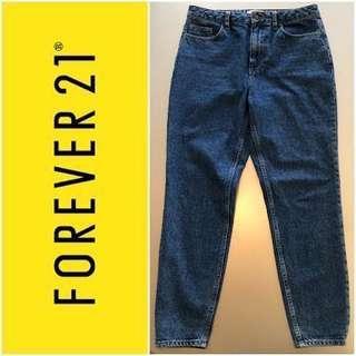 Forever 21 Medium Dark Washed Denim Mom Jeans