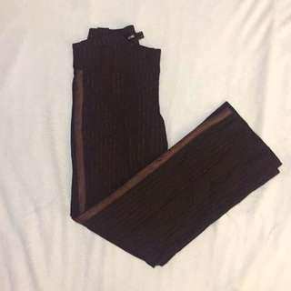 Mango Dark Brown w/ Side Stripe Pinstripes Trousers