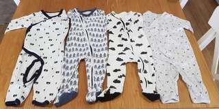 Cotton On bundle of 4 sleepsuits 3-6mths