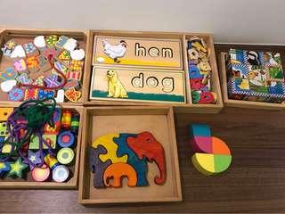 Wooden toys, for ages 2-4