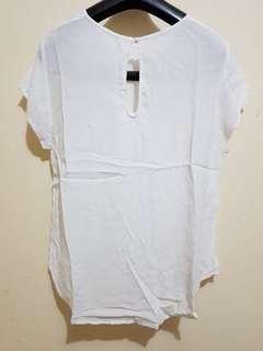 NEW Atasan Putih Baju Simple White Blouse Semi Kemeja