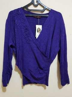 NEW Simple Top Blue Long Lengan Panjang Biru Sweater Jaket Cardigan