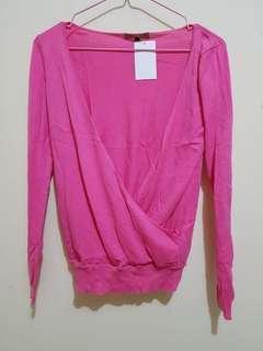 NEW Sweater Pink Wanita Jacket Jaket Luaran Lengan Panjang