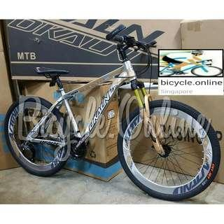 """Dkaln Chromed All Terrain Bike / ATB *26"""" ☆ Corrosion Resistance! ☆ Microshift 27Speeds, Sports Rims, Disc Brakes, Lockout Suspension. Brand New Bicycle *890DkChrGld"""