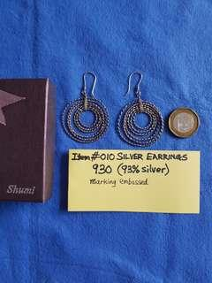 Item #010,   SILVER EARRINGS.   930 (93% silver).   Marking embossed.