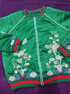 Green Bomber Jacket Gucci Inspired (worn once/good as new/unisex)