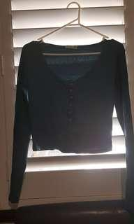 COTTON ON LONG SLEEVE CROP BUTTON UP GREEN RIBBED MATERIAL