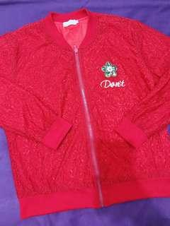 Red Bomber Jacket Soft Lace (worn once/good as new/spandex)