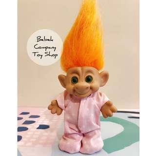 VTG trolls 綠眼睛 橘頭髮 寶寶 粉紅睡衣 醜娃 巨魔娃娃 幸運小子 troll dolls 古董玩具 絕版