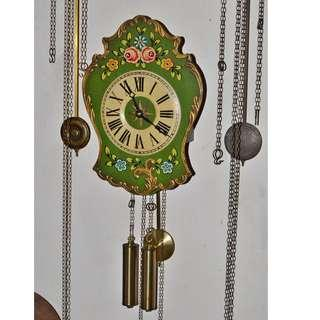 ANTIQUE VINTAGE GERMANY WEIGHTS DRIVEN PENDULUM WALL CLOCK