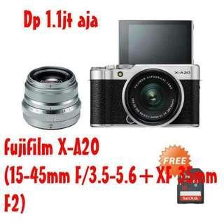 kamera fujifilm X-A20 kit 15-45mm f/3.5-5.6 + xf 35mm f2 bisa kredit