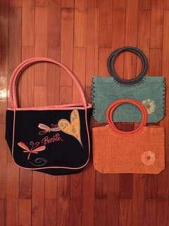 Barbie bag & 2 straw bags (bundle sale)
