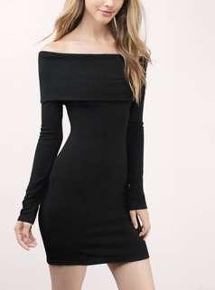 Off shoulder black midi dress