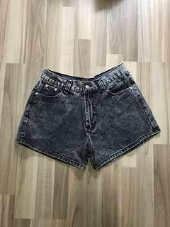 Black Acid Washed Denim Shorts