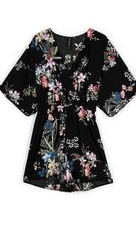 stradivarius floral printed kimono jumpsuit
