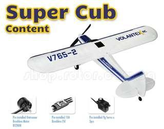 90% assembled, Suitable for Beginner, Volantex 2.4G V765-2 Super Cub Park Flyer Sport Cub with 4-Channel Transmitter, Wingspan 750mm, EPO, Ready-to-fly, RTF, Mode 2. Code: V765-2-RTF-2