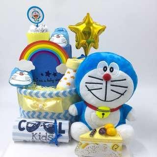 "Ready stock ! Doraemon 2-tier Diapers cake- Large 10"" premium size"