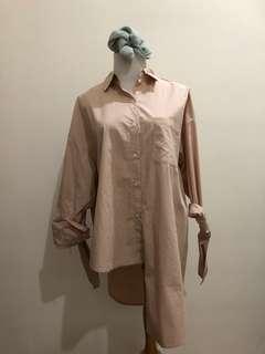 Asymmetrical pink shirt (korean style) free style up to xl