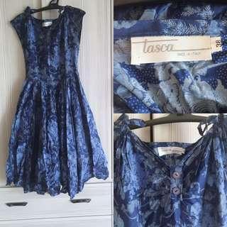 義大利tasca高級連身洋裝 連衣裙 水藍色系列 公主裙擺 二手