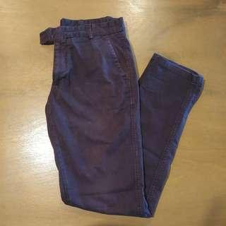ZARA Youth Denim Pants in Burgundy