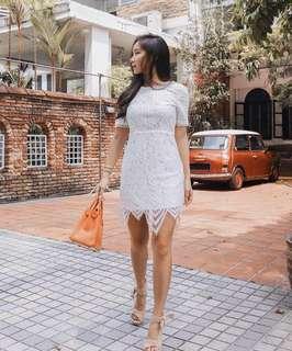 Ohvola Gretta Lace Dress in White