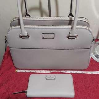 Bundle of Authentic Kate Spade Terri bag and Kate Spade Neda wallet in almondine