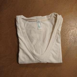 American Apparel White V-Neck T-shirt