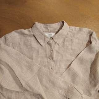 UNIQLO Linen Longsleeves in Tan