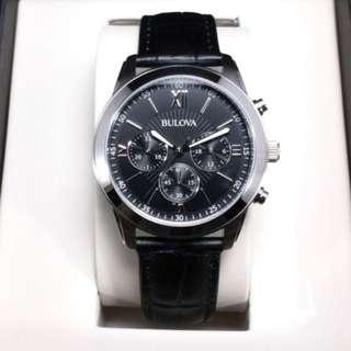 BULOVA Chronograph Watch Men's Dial Black Real Leather