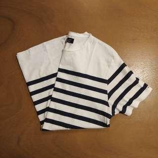 ZARA Man Cotton Sailing on the Sea White Stripes Tee