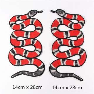 1PCS Fashion Embroidered Snake Patch for Clothing Applique for Jeans DIY Accessories Cute Gucci  Iron on Patches