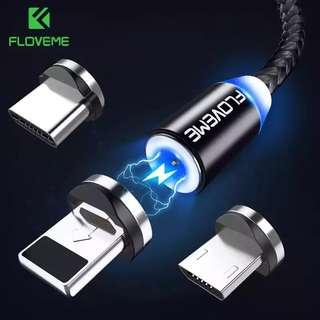 FLOVEME 1M LED Magnetic USB Cable Micro USB / Type C / For Apple iPhone X XS Max Magnet Charger Cable For Samsung Xiaomi LG #y54