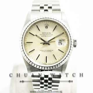Pre-Owned Rolex Gents' DateJust 36mm 16220 Silver Tapestry Index - Discontinued