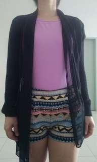Black Knitted Chiffon outerwear