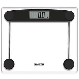 P10 Salter Compact Electronic Bathroom Scales - Toughened Glass, Measure Body Weight Metric / Imperial, Easy to Read Digital Display, Instant Precise Reading w/ Step-On Feature - Black