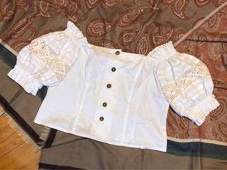 日本古著復古白色一字膊通花麻棉上衣