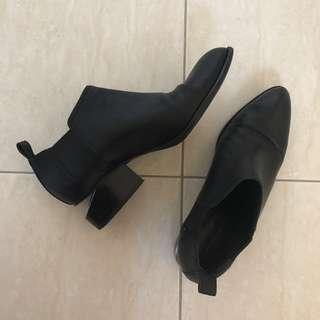Alexander Wang Black Leather Ankle Boots Size 39