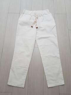 Korean white jogger trousers