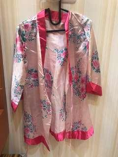 Kimono Satin Floral Pink