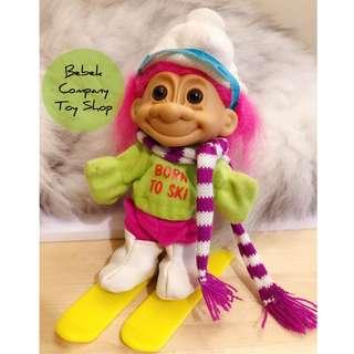 滑雪 1980s VTG troll trolls 醜娃 巨魔娃娃 幸運小子 古董玩具 絕版玩具 滑雪裝
